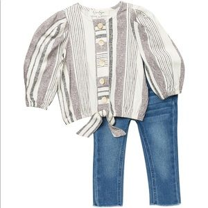 Jessica Simpson Twill Top&Denim Pants Color STRIP